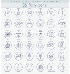 Party outline icon set elegant thin line vector
