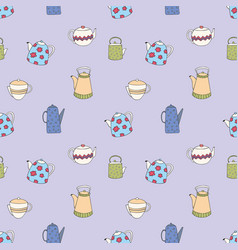 Pattern with stylized colorful teapots seamless vector