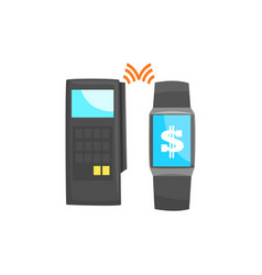 pos terminal confirming the payment using smart vector image