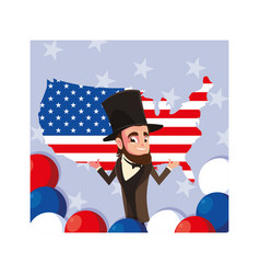 President abraham lincoln with map united states vector