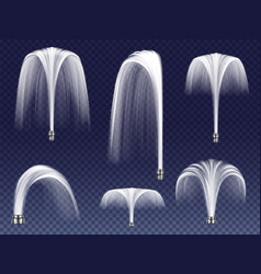 Realistic fountains geysers jets vector