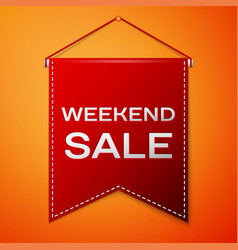 red pennant with inscription weekend sale over a vector image