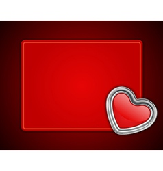 red shiny heart shape on card vector image