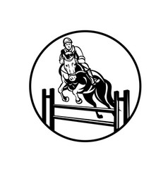 Rider on horse show jumping stadium jumping or vector