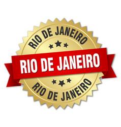 Rio de janeiro round golden badge with red ribbon vector