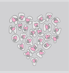 saint valentines day font heart pink lettering vector image
