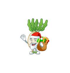Santa claus with gift bag daikon cartoon design vector