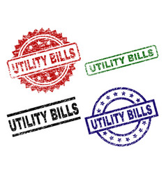 Scratched textured utility bills stamp seals vector