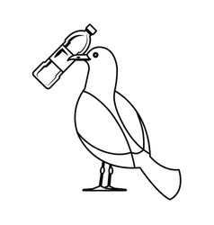 Seagull with plastic bottle vector