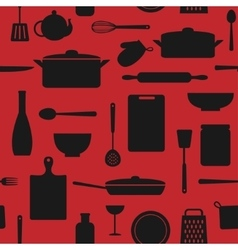Seamless pattern of kitchen silhouettes vector image