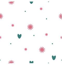 seamless pattern of snowflakes hearts circles vector image