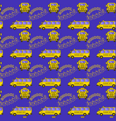 Seamless pattern with flat style school bus vector