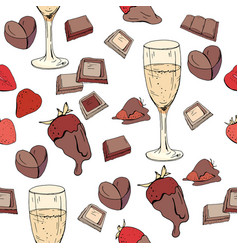 seamless pattern with glasses of champagne vector image