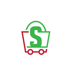 shopping bag trolley business logo vector image