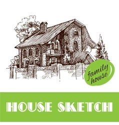 Sketch style house vector image