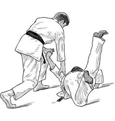 Sketch two wrestlers in training combat vector