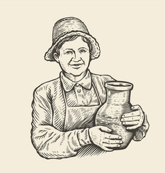 sketch woman with jug milkmaid hand vector image