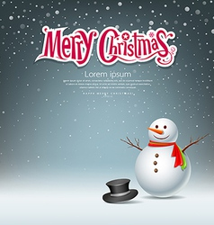 Snowman design on snowflake background vector image