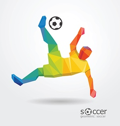 Soccer football kick striker player geometric vector