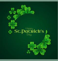 st patricks day background with shamrock circle vector image