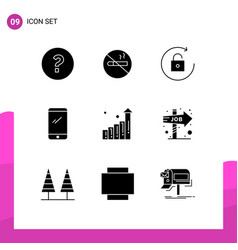Stock icon pack 9 line signs and symbols vector