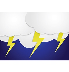 Storm clouds with yellow lightning bolts vector image