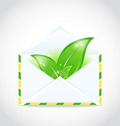 summer letter with green leaves vector image