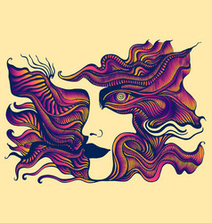 surreal psychedelic stylized anthropomorphic face vector image