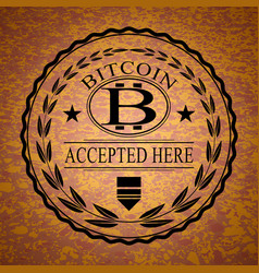 the sticker with bitcoin symbol vector image