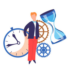 time concept timer and hourglass cogwheels and man vector image