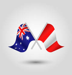 Two crossed australian and peruvian flags vector