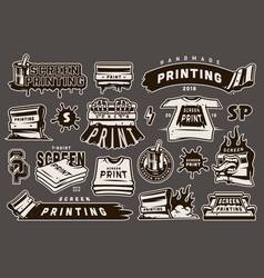 Vintage monochrome screen printing elements set vector