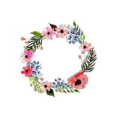 Watercolor flowers wreath vector
