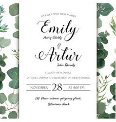 Wedding floral hand drawn invite invitation card vector