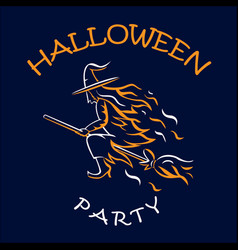 witch on a broomstick halloween party vector image