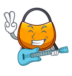 With guitar hobo bag outline on image cartoon vector