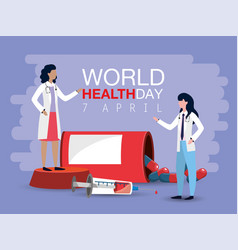 Women doctors with syringe to world health day vector