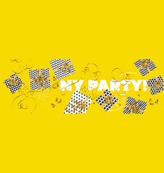 xmas gifts scattered in yellow horizontal header vector image