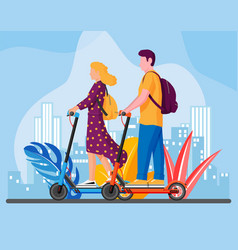 young woman and man on kick scooter vector image