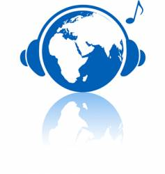 earth music world headphones vector image vector image