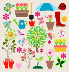 icons set elements Spring Gardening vector image vector image