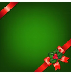Xmas Red Ribbons With Holly Berry vector image vector image