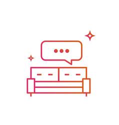 bed or sofa speech bubble icon gradient line vector image