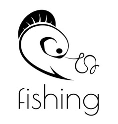 fishing emblem of hook fishing line and fish vector image
