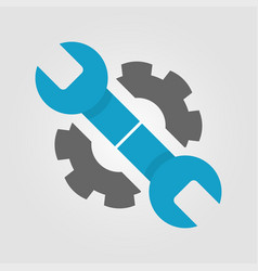 wrench and gear icon in two colors blue and dark vector image