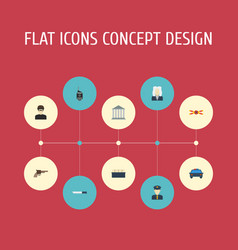 Flat icons walkie-talkie thief police car and vector