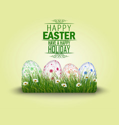 happy easter eggs in the grass vector image vector image