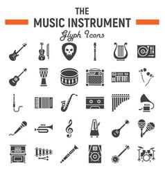 music instruments glyph icon set audio symbols vector image