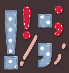 Set of Stitched Font - Exclamation full stop comma vector image
