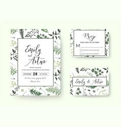 wedding invite invitation rsvp card floral vector image vector image